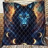 Fansu Tagesdecke Bettüberwurf Steppdecke Mikrofaser Doppelbett Einselbetten Tagesdecken Gesteppt Bettwäsche Sofaüberwurf Wohndecke 3D Wolfsdruck Bettdecke (Traumfänger Wolf,226 * 260cm)