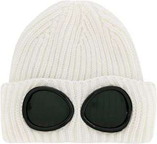 CP Company Goggle Beanie Hat in Off White