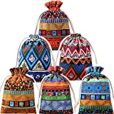 24 Pieces Egyptian Style Jewelry Coin Pouch Drawstring Linen Sachet Candy Pouch Ethnic Small Cloth Drawstring Bag for Candy Wedding Party Valentine's Day Favors, 6 Designs
