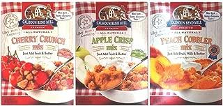 Calhoun Bend Mill All Natural Dessert Mix 3 Flavor Variety Bundle: (1) Calhoun Bend Mill Peach Cobbler Mix, (1) Calhoun Band Mill Apple Crisp Mix, and (1) Calhoun Bend Mill Cherry Crunch Mix, 8 Oz. Ea