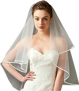GRACIN Women's 2T 2 Tier Bridal Tulle Elbow/Fingertip Length Wedding Veil for Bride