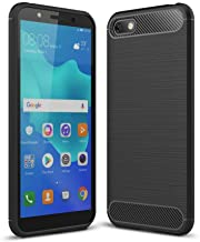 Toppix Case for Huawei Y5 2018 / Honor 7S, Soft TPU Bumper Flexible [Shock Absorption] [Carbon Fiber Texture] Bumper Protective Cover for Huawei Y5 2018 / Honor 7S (Black)