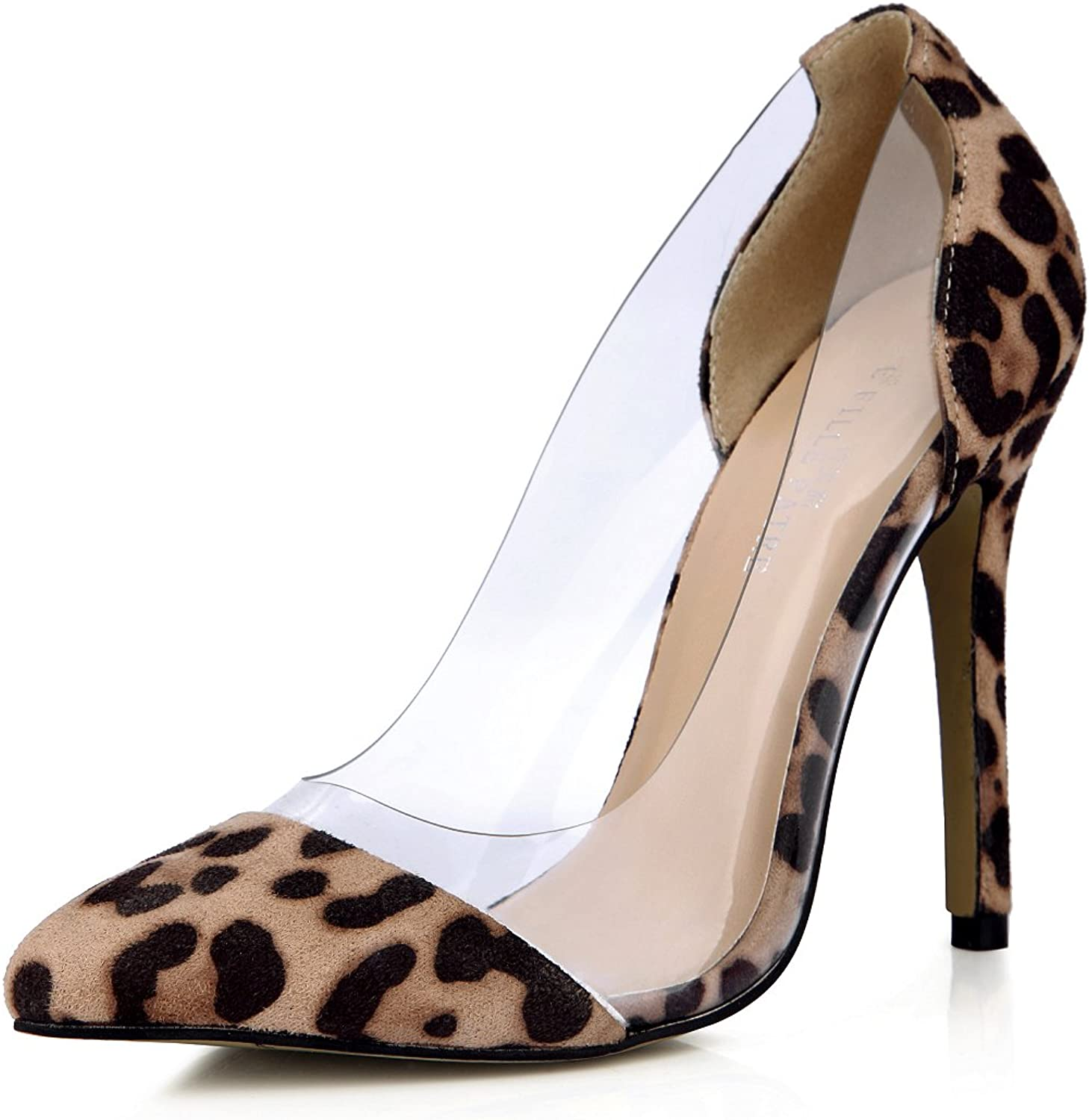 DolphinGirl Women Fashion Leopard Pointy Toe 12CM High Heels Patent Material Stiletto shoes SM00113