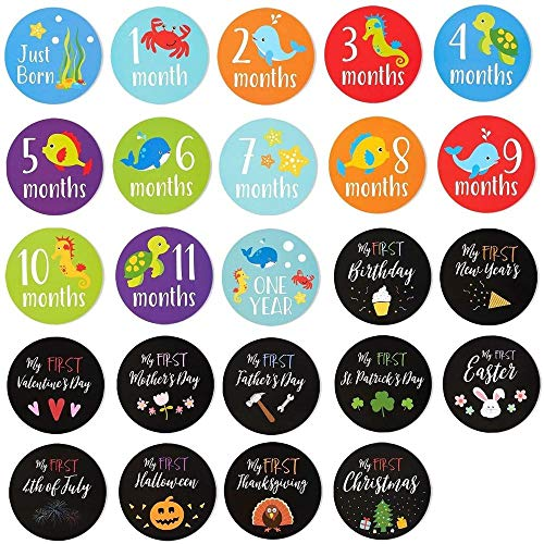 Baby Milestone Stickers - 24-Count First Year Baby Monthly Stickers Including Birthday, Thanksgiving, Christmas for Baby Scrapbook, Keepsake Journal and Baby Pictures, 4.4 inches in Diameter