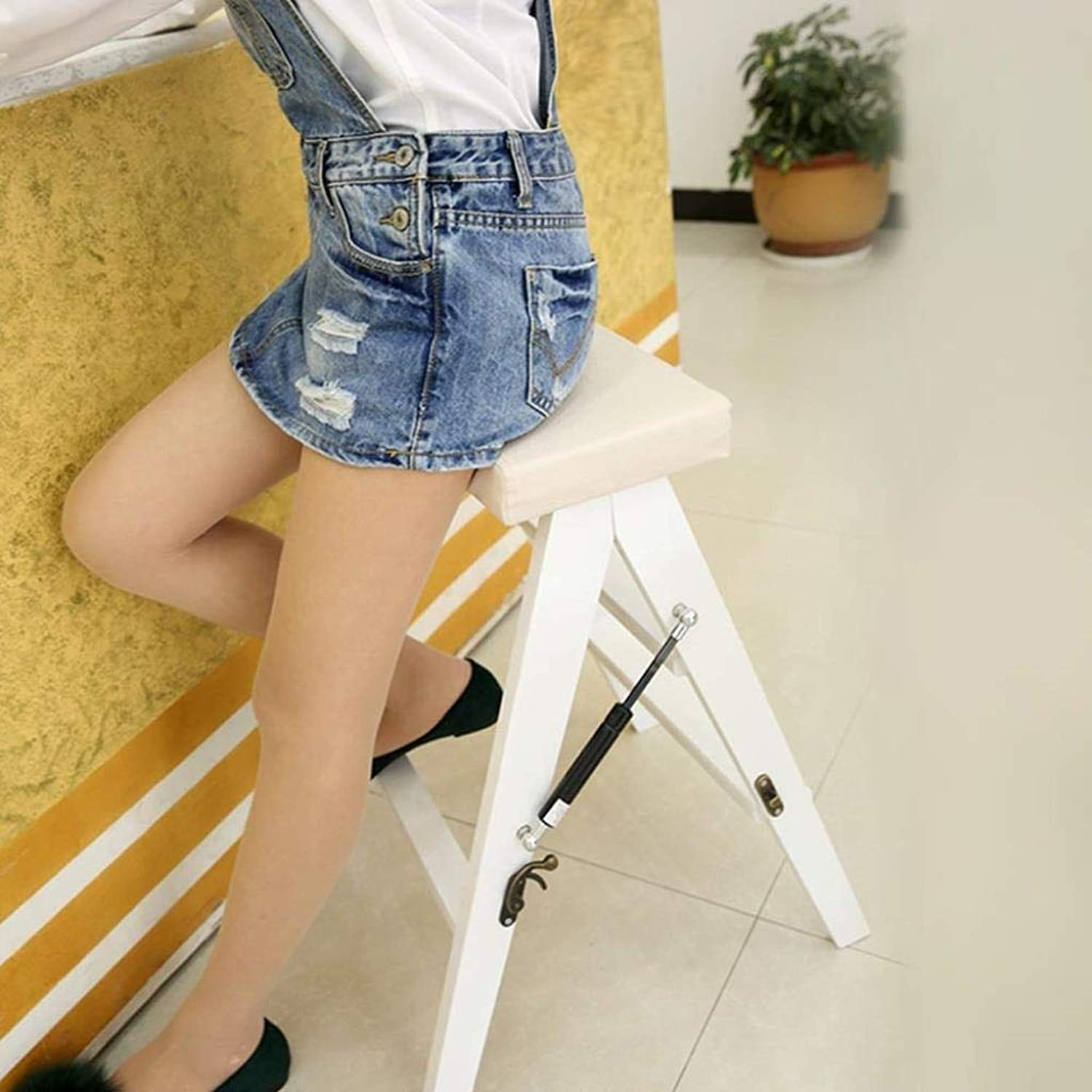 Solid Wood Folding Stool Simple Modern Folding Ladder Stool Home Kitchen Stool Portable Stool Adult Ascending Stool 42.5x48x63cm ZXMDMZ (color   White)
