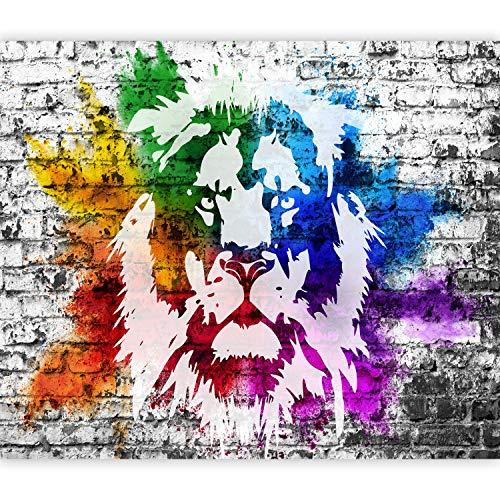 murando Fototapete selbstklebend Grafitti Löwe 343x256 cm Tapete Wandtapete Klebefolie Dekorfolie Tapetenfolie Wand Dekoration Wandaufkleber Wohnzimmer Tier Afrika Mural bunt g-A-0240-a-a