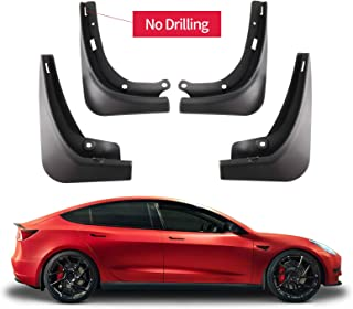 Carwiner Tesla Model 3 Mud Flaps Splash Guards No Need to Drill Holes Fender Mud Guard Accessories 2016-2021 (Set of 4)