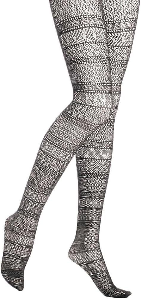 Hue Women's Striped Multi-net Tights (Black)