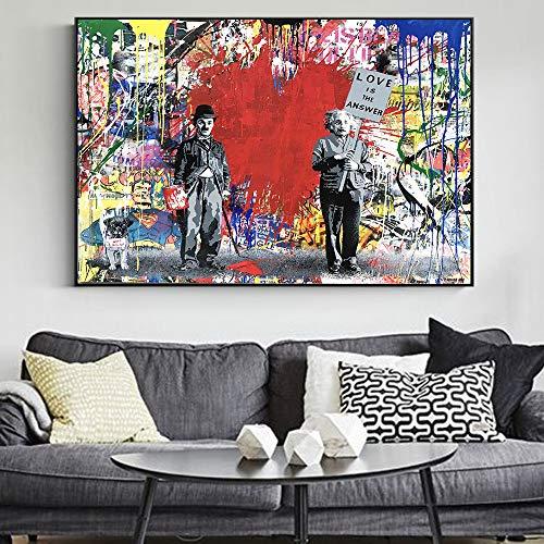Moderne Street Art Graffiti Leinwanddruck Kunst Poster und Drucke großen Erfinder abstrakte Wand Dekoration rahmenlose Malerei 40x60cm