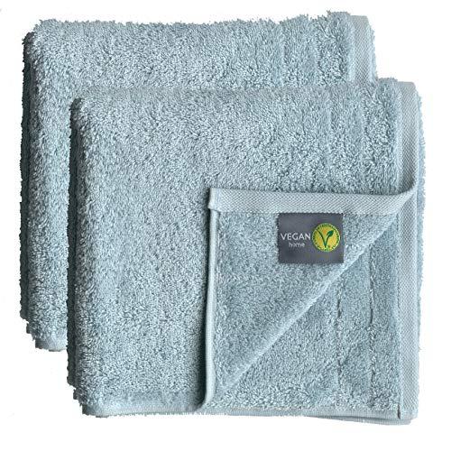 wellyou Toalla de ducha vegana, juego de toallas de ducha veganas para hombre y mujer – Edad adulta, niños, bebé de 100% algodón orgánico con material vegano (50x100, azul hielo)