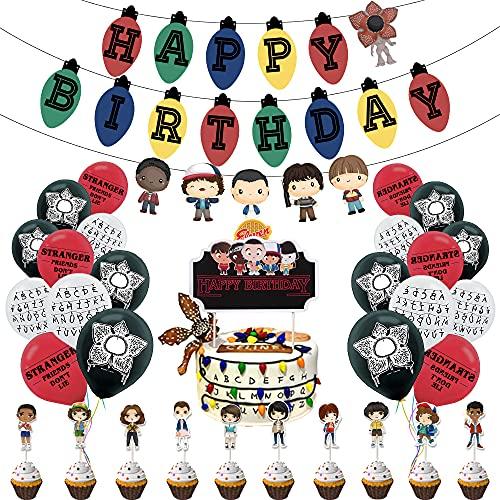Ginkago Banniere Joyeux Anniversaire et Ballons de Confettis 30 pcs et Cake Toppers, Banner Happy Birthday Ballon Décoration de Fête Anniversaire