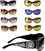 Montana West Ladies Sunglasses Silver Design Scrollwork Rhinestones Floral Concho UV 400