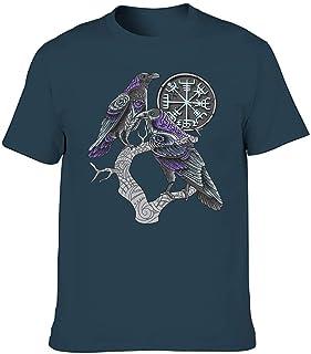 Camiseta elástica para hombre, diseño de rama y cuervo vikingo, color morado, con estampado de rama vegvisir, blusa humorí...