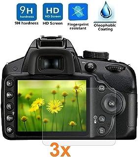 REY 3X Protector de Pantalla para Nikon D3200 - D3300 - D3400 Cristal Vidrio Templado Premium