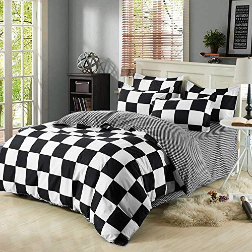 NOKOLULU Farmhouse Buffalo Check Gingham Simple Geometric Square Pattern Bedding Set Modern and Fashionable Plaid Anti Allergy Duvet Cover with Sham Set for Home (Twin,Grid)