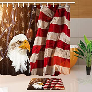 DYNH United States Flag Shower Curtain Bath Rug Set, North American Bald Eagle with USA Flag Patriotic Concept, 69X70in Fabric Bathroom Curtains with 15.7x23.6in Flannel Non-Slip Floor Doormat Rugs