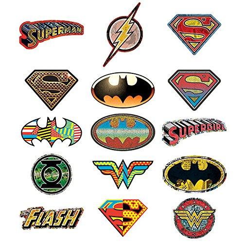DC Comics 15 Logo Stickers - Set of 15 Batman, Superman, Wonder Woman, Flash, Green Lantern Stickers