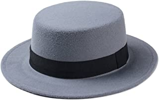 Elee Women Boater Hat Bowler Sailor Wide Brim Flat Top Caps Wool Blend