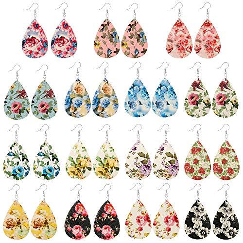 15 Pairs Petal Leather Earrings Antique Looking Faux Leather Teardrop Long Dangle Earrings Lightweight Leaf Red Yellow Handmade Floral Rainbow Print Drop Earrings Gift For Teens Girls Women (3#)