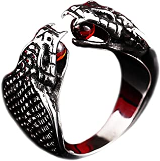 Men's Stainless Steel Gothic Punk Cobra Snake Ring with Ruby Gemstone