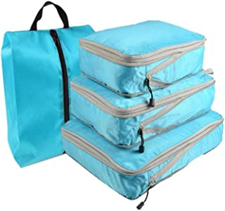 Travel Storage Bags Waterproof Luggage Organizer Pouch Packing Cube Clothing Sorting Packages Pack of 4pcs Blue