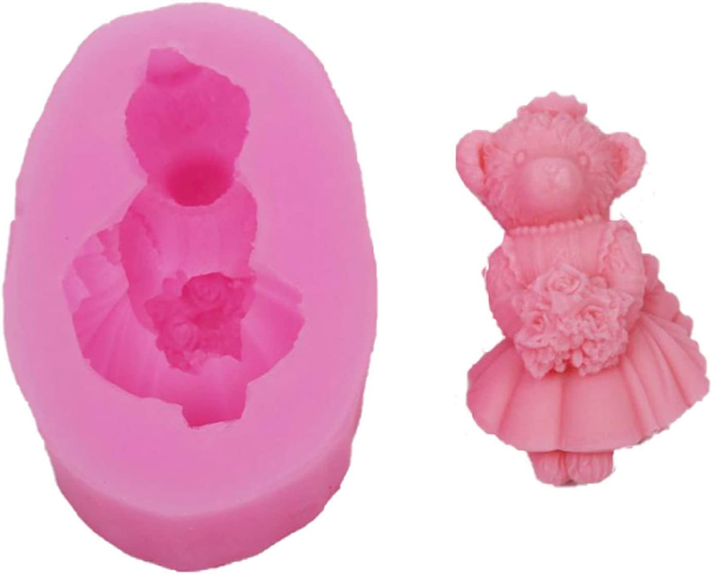ZIUKENR Bear Candle Mould 3D Craft Sales results No. 1 DIY Animal Silicone Ultra-Cheap Deals M