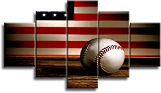 VIIVEI USA US American Flag Baseball Canvas Prints Wall Art Thin Blue Red Line Home Decor Pictures for Living Room 5 Panel Large Poster Painting Framed Artwork Ready to Hang (60