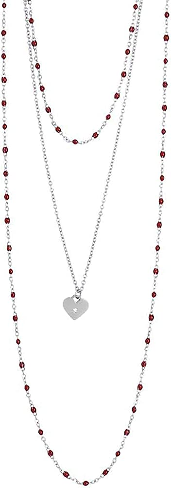 Boccadamo, collana per donna, in acciaio rodiato,con pendente a forma di cuore e zircone Aa/Gr15