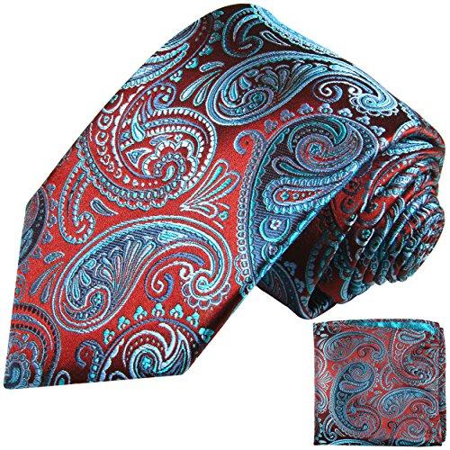 Paul Malone Krawatten Set 2tlg rot blaue paisley Seidenkrawatte (Schmale Krawatte 6cm)