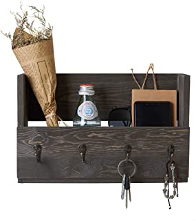 Distressed Rustic Gray Pine Wood Wall Mounted Mail Holder Organizer with 4 Key Hooks Rack Hanger, Letter and Key Holder Organizer for Entryway, Kitchen, Hallway, Foyer-Wall Mount