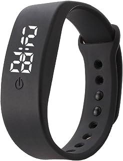 Delleu – Bracelet de sports électronique à LED en silicone pour hommes, femmes, enfants Noir