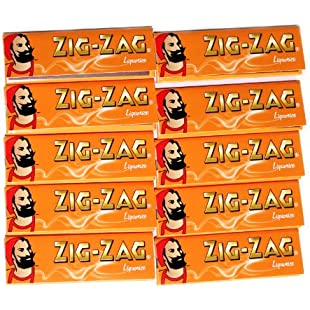 10 booklets x ZIG-ZAG LIQUORICE flavour GUMMED Rolling Paper:Greatestmixtapes