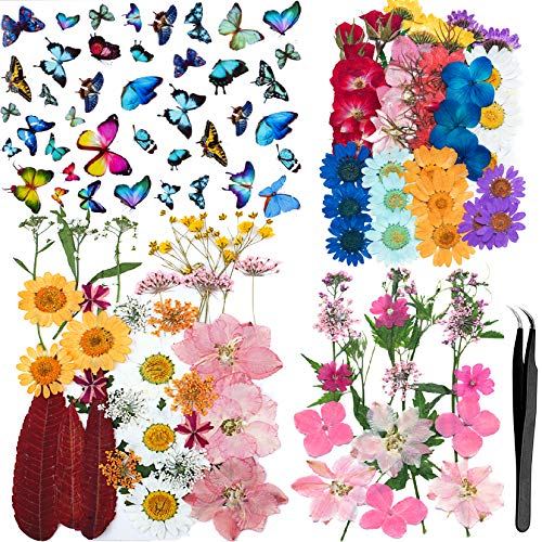 Dried Pressed Flowers and Butterfly Transparent Stickers 128 Pieces Set for Art DIY Crafts-DIY Candles, Resin Jewelry, Pendant Crafts, Making Art Floral Decors