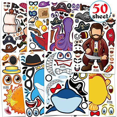 Qpout 50 Blatt Make A Face Aufkleber Set für Piraten & Haie Octopus Dolphin für Kinder, 8 Style Machen Sie Ihre eigenen Aufkleber für Mädchen & Jungen Geburtstagsgeschenk Dekor/Party Mitgebsel Spiel