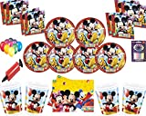 Disney Mickey Mouse Party Decoration Set-Platos Tazas Servilletas Mantel con Globos Gratis Velas Bombas de Globos-Sirve para 16 Invitados