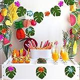"Kuuqa 60 Stück Tropical Party Dekoration liefert 8 ""Tropical Palm Monstera Blätter und Hibiskusblüten, Simulation Blatt für hawaiische Luau Party Jungle Beach Thema Tischdekoration - 6"