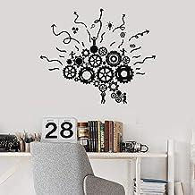 Engranajes Etiqueta de la pared Cerebro Lugar de trabajo Trabajo en equipo Oficina de negocios Estudio Decoración de interiores Puerta Ventana Vinilo Pegatinas Creativos Mural 57x69 cm