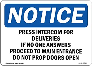 Diuangfoong Press Intercom for Deliveries If No One Aluminum Sign Protect Your Business, Work Site, Warehouse & Shop Area