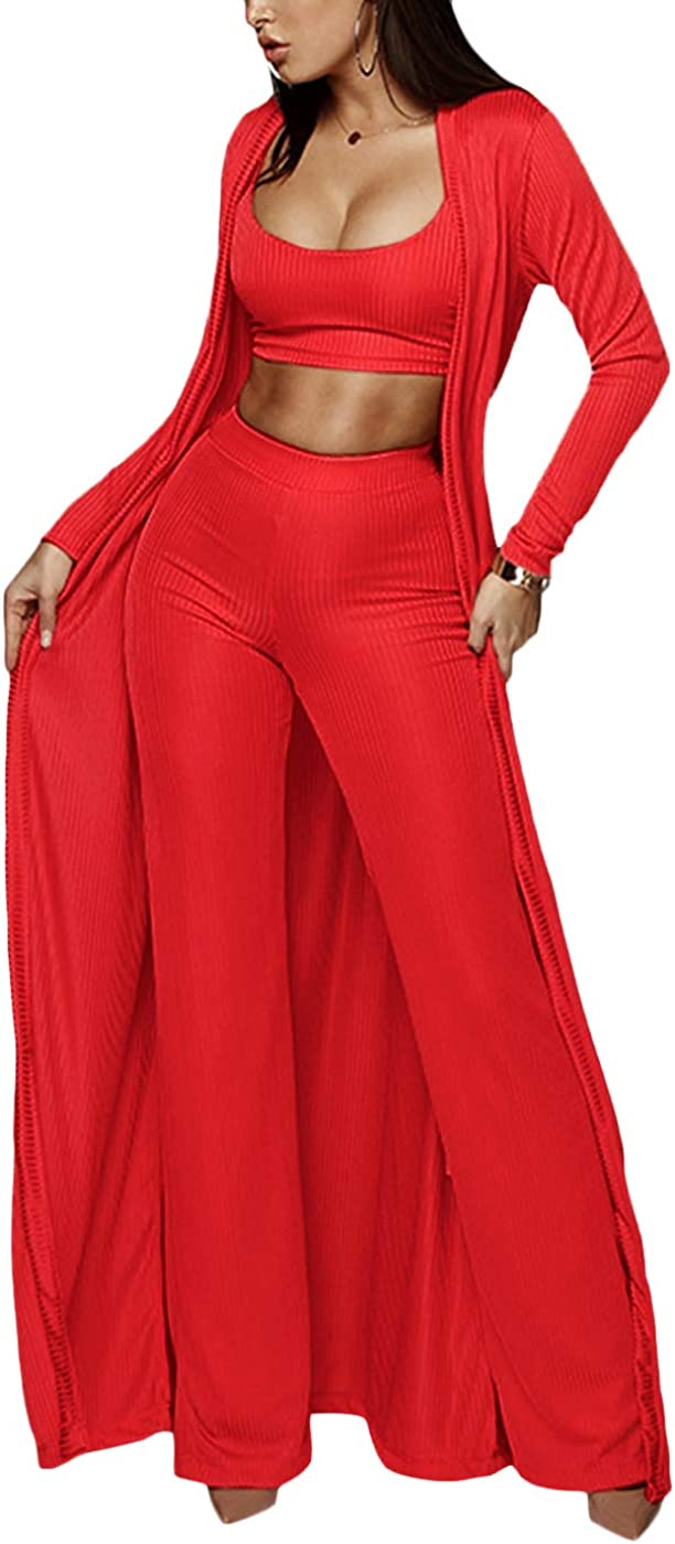 Cosygal Womens Crop Top Cardigan and Wide Leg Long Palazzo Pants Jumpsuit Romper Set Three Piece Sets Outfit