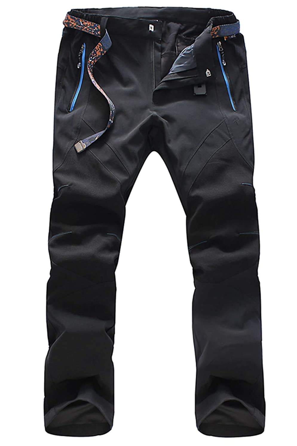 MAGCOMSEN Men's Outdoor Quick Dry Pants Zipper Pockets Lightweight Windproof Hiking Mountain Pants with Belt