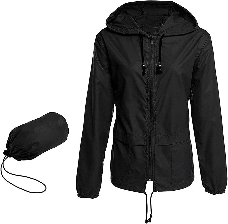 Rain Jackets for Women Waterproof with Hood Plus Size Lightweight Rain Coat Solid Color Block Casual Hoodies Windbreaker