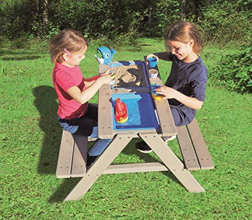 Sand- Wasserspieltisch Kindersitzgarnitur/Massivholz Tisch mit Sitzbänken Abnehmbarer Tischplatte und 2 Spielwannen Matschkisten Sandkiste/witterungsbeständig/FSC-Holz