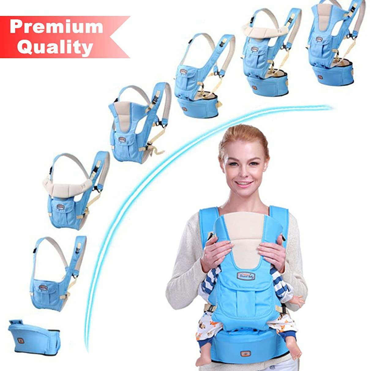 Aolander Baby Carrier with Hip SEAT for 0-36 Months Ergonomic Baby Carrier Hiking Backpack Up to 50 Pounds Adjustable Pink and Blue Baby Carrier with Large Pocket 4 Positions for Infant Toddler