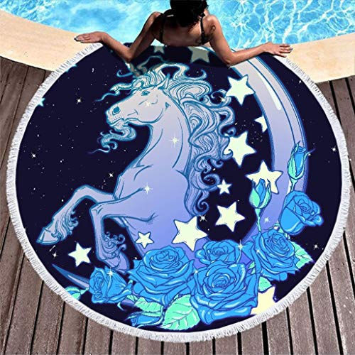 YxueSond Rond Beach Throw Dream Unicorn Superfijne vezel sjaal picknick deken mat