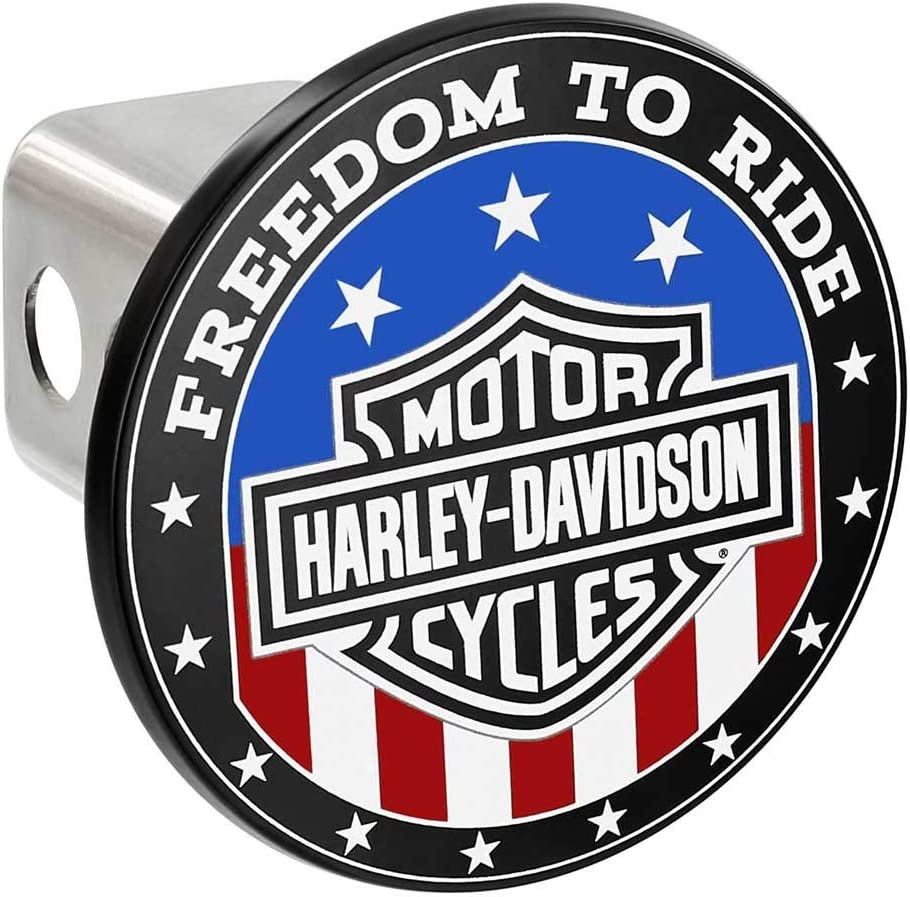 2 inch Harley-Davidson Oval Bar /& Shield Flag Hitch Cover Black /& White