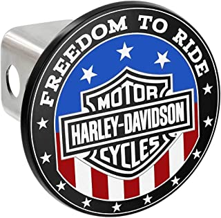 Harley-Davidson Oval Bar & Shield Flag Hitch Cover, 2 inch. - Red/White/Blue