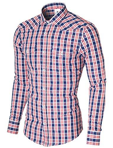 MODERNO Herren Hemd Kariert Silm Fit, Baumwolle Freizeithemd Langarm, mit 2 Taschen Karohemd (MOD1804LS) Blau/Rot/Weiß EU L