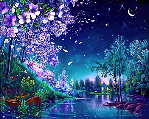 Purple Night Puzzle Moon Landscape Large Paper Puzzle 1000 Pieces Jigsaw Puzzle Kids Adult