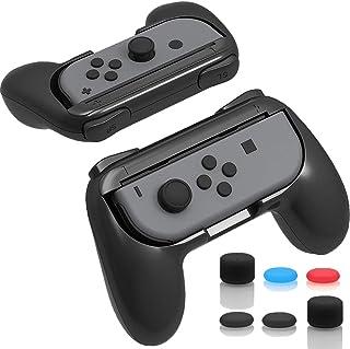 ジョイコンハンドル Nintendo Switch専用 Joy-Conハンドル グリップ 【任天堂 Joy-Con グリップ 2個 +アシストキャップ 6個入り】装着簡単 耐磨 反応素早い ゲームコントローラ (Black)