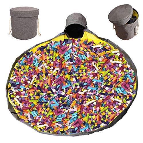 Large Play Storage Bag and Play Mat, Toy Storage and Play Mat, Outdoor Toy Quick Storage Bag Collapsible Drawstring Toy Bag Basket Zavadak (Gray)